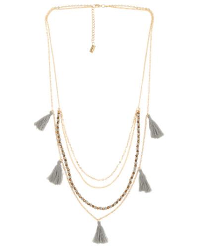 Halskette 'Silva' gold / grau