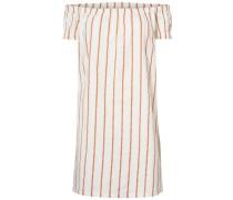 Off-Shoulder-Kleid apricot / weiß
