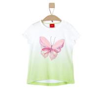 Shirt mit Schmetterlings-Applikation grün / weiß