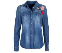 Jeanshemd 'new Western Embroidered Flowers' blue denim / grün / rot
