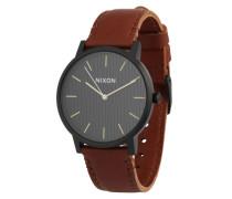 Armbanduhr 'Porter Leather' braun / schwarz
