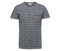 Rundhalsausschnitt-T-Shirt graumeliert / schwarz
