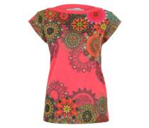 T-Shirt 'Arcano' mit Blumen-Verzierungen mischfarben / pink