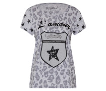 T-Shirt mit Emblem grau / schwarz