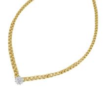 Halsschmuck: Collier/Kette in Fantasiekettengliederung mit funkelnden Diamanten gold
