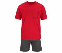 kurzer Pyjama grau / rot