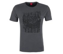 Jerseyshirt mit Frontprint dunkelgrau