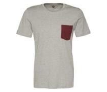T-Shirt 'jcotable TEE SS Pocket NO' grau / weiß