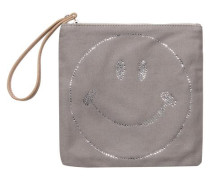 Clutch mit Smiley-Motiv dunkelgrau
