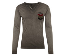 Langarmshirt 'mls GUN button' anthrazit
