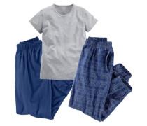 Pyjama-Set (3-tlg.) dunkelblau / grau