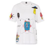 T-Shirt mit Space-Print weiß