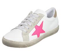 Sneaker mit Stern-Detail beige / dunkelpink / weiß