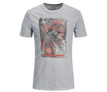 Print-T-Shirt dunkelgrau / graumeliert / rostrot