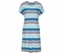 Gestreiftes Nachthemd mit angeschnittenen Ärmeln blau