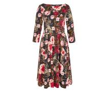 A-Linien-Kleid mit Rosendruck mischfarben / altrosa / blutrot / schwarz