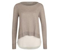 'onlSUE' Pullover dunkelbeige / grau