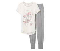 Schlafanzug 'Ally Cas' grau / weiß