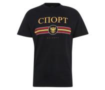 T-Shirt 'copp Print P' gelb / schwarz