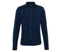 Kariertes Hemd 'Ams blauw slim fit indigo oxford check shirt'