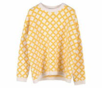 Jacquardpullover gelb / weiß