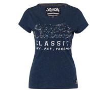 T-Shirt 'Classics Sequin' navy / silber / weiß