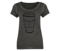 Pailetten- Shirt mit Fotoprint schwarz