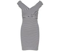 Wickel-Kleid ohne Ärmel navy / weiß