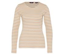 Shirt im Streifen-Design braun / weiß