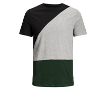 T-Shirt -Colour-Blocking grau / dunkelgrün / schwarz