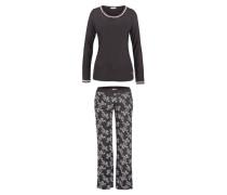 Langer Pyjama schwarz mit rosa Spitze und edlem Kontrastprint schwarz / weiß