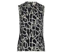 Kurzarm-Bluse mit Muster schwarz / weiß