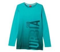 Slim: Longshirt mit Print grau / grün