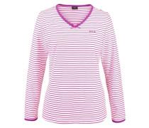 Langer Pyjama im trendigen Streifendesign lila
