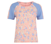 T-Shirt mit Leo-Print hellblau / pink