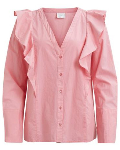 Feminines Hemd 'vialona Flounce Shirt' hellpink