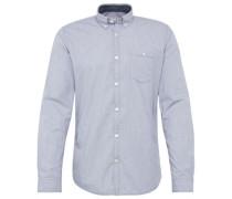 Gestreiftes Hemd mit Brusttasche blau