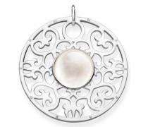 Kettenanhänger 'Weisses Ornament Pe763-029-14' silber / weiß
