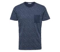 Baumwoll-T-Shirt blaumeliert / weiß