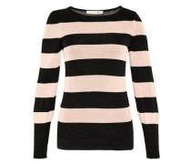 Blockstreifen-Pullover mit Lurex beige / schwarz