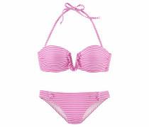 Bandeau-Bikini pink / weiß