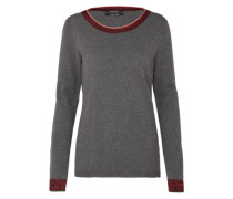 Pullover 'Basic crew neck knit with special ribs' grau / weinrot