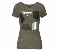 Print-Shirt khaki / schwarz / silber