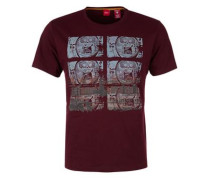 T-Shirt mit Print hellblau / bordeaux