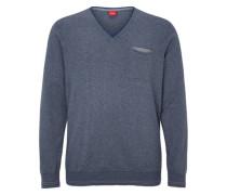 V-Neck-Pullover mit Ringeln blau