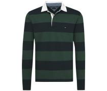 Poloshirt 'basic Block STP Rugby L/S VF' dunkelgrün / schwarz