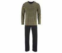 Geringelter Pyjama lang anthrazit / khaki