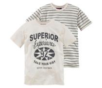T-Shirt (2 Stück) für Jungen schwarz / eierschale