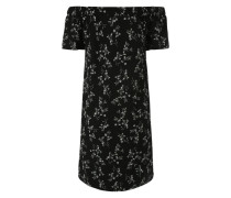 Kleid mit Carmen-Ausschnitt schwarz / weiß
