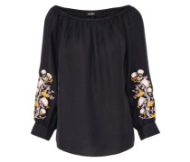 Schulterfreie Bluse 'Reed Embroidery Blouse' schwarz